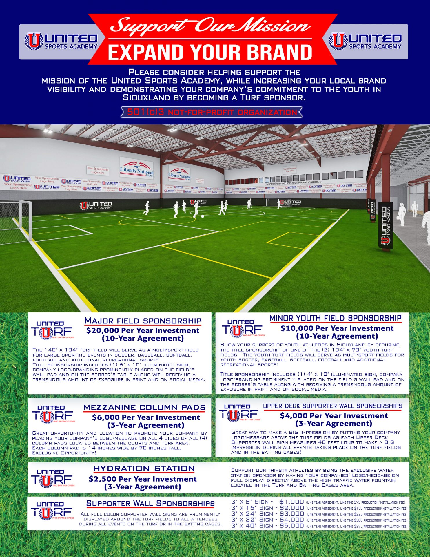 United Sports Academy - United Turf and Batting Cage Sponsorship Opportunities