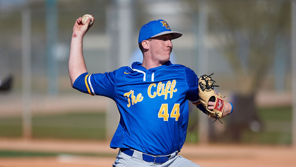 Briar Cliff Chargers starting pitcher Jacob Wesselmann (44) delivers a pitch during a game against the Bethesda University Flames at Kino Sports Complex on March 4, 2020 in Tucson, Arizona. (Zachary Lucy Photography)